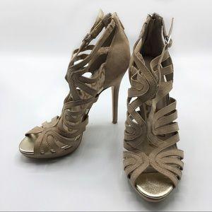 [SAMEDELMAN] Strappy Leather Peep Toe High Heels 7